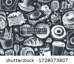breakfast table banner on chalk ... | Shutterstock .eps vector #1728073807