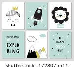 set of posters for boys room or ... | Shutterstock .eps vector #1728075511