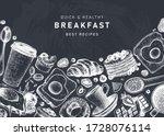 breakfast vintage top view... | Shutterstock .eps vector #1728076114