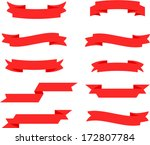 vector retro red ribbon set 2   ... | Shutterstock .eps vector #172807784
