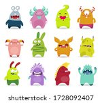 happy halloween. monster set.... | Shutterstock .eps vector #1728092407