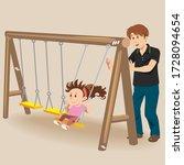 vector of cute girl on a swing... | Shutterstock .eps vector #1728094654