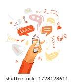 hand with phone vector cartoon... | Shutterstock .eps vector #1728128611