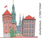 krakow royal castle on wawel... | Shutterstock .eps vector #1728171064