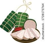 vietnamese sausage with pork...   Shutterstock .eps vector #1728173764