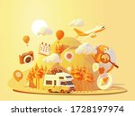 vector camper van travel summer ... | Shutterstock .eps vector #1728197974