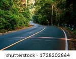Highway Road With Green Tree In ...
