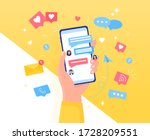colorful chatting concept hand... | Shutterstock .eps vector #1728209551