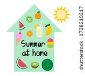 summer at home  summer food and ... | Shutterstock .eps vector #1728210217