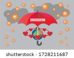Red umbrella, Corona rain and dark cloouds, text Consideration. Vector illustration.