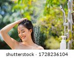 woman asian bathing outdoors ...   Shutterstock . vector #1728236104