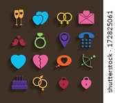 love icons set in flat style | Shutterstock .eps vector #172825061