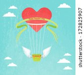 hot air balloon with red heart... | Shutterstock .eps vector #172825907