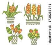 vector set of hand drawn indoor ... | Shutterstock .eps vector #1728285391
