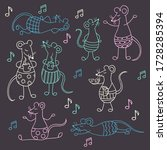 vector set with cute funny rats ... | Shutterstock .eps vector #1728285394