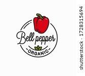 bell pepper logo. round linear... | Shutterstock .eps vector #1728315694