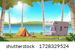 summer landscape with birch... | Shutterstock .eps vector #1728329524
