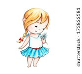 the drawing of little girl with ... | Shutterstock . vector #172833581