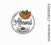 almond nut logo. round linear... | Shutterstock .eps vector #1728350014