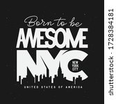 born to be awesome new york... | Shutterstock .eps vector #1728384181