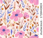 Cute Floral Seamless Pattern In ...