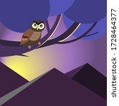 night. owl on a tree. vector...   Shutterstock .eps vector #1728464377