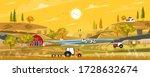 autumn landscape with sunrise... | Shutterstock .eps vector #1728632674