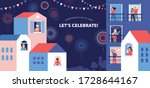 celebration at home with... | Shutterstock .eps vector #1728644167