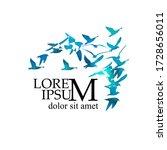 a flock of flying blue birds....   Shutterstock .eps vector #1728656011