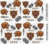 vintage tiger tattoo pattern ... | Shutterstock .eps vector #1728698284