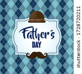 happy fathers day card with tophat and mustache vector illustration design