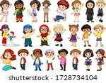 large set of children doing... | Shutterstock .eps vector #1728734104