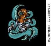 Scuba Diver Octopus Vector...