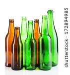 Glass Bottles Isolated On White