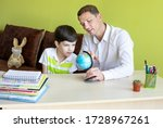 boy with father doing homework... | Shutterstock . vector #1728967261
