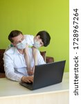 father working from home with... | Shutterstock . vector #1728967264