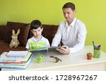 boy with father doing homework... | Shutterstock . vector #1728967267