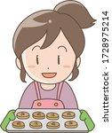 woman baking cookies   stress...   Shutterstock .eps vector #1728975214