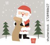 Cute Santa Claus Is Reading The ...