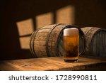 Beer Barrel With Beer Glasses...