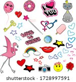 set of girl fashion cartoon... | Shutterstock .eps vector #1728997591