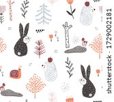 seamless childish pattern with... | Shutterstock .eps vector #1729002181