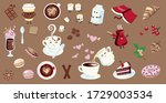 set of coffee illustrations in...   Shutterstock .eps vector #1729003534