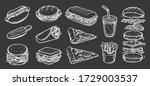 vector set of fast food. vector ... | Shutterstock .eps vector #1729003537