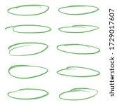 set of light green oval vector... | Shutterstock .eps vector #1729017607