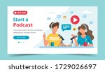podcasters talking to... | Shutterstock .eps vector #1729026697