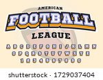 american football font and... | Shutterstock .eps vector #1729037404