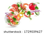 vegetables salad of bowl... | Shutterstock .eps vector #1729039627