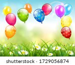 birthday balloons flying over... | Shutterstock .eps vector #1729056874
