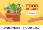 volunteer holding a donation...   Shutterstock .eps vector #1729058557